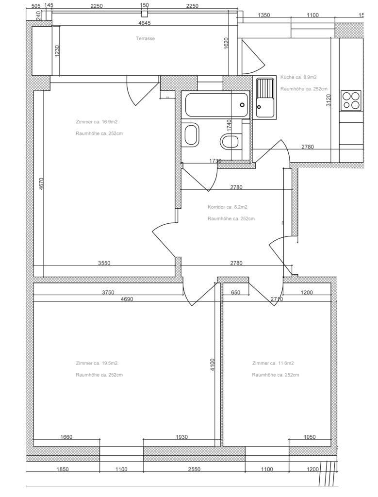 Beispiel Grundriss 3-Zimmer Wohnung EG