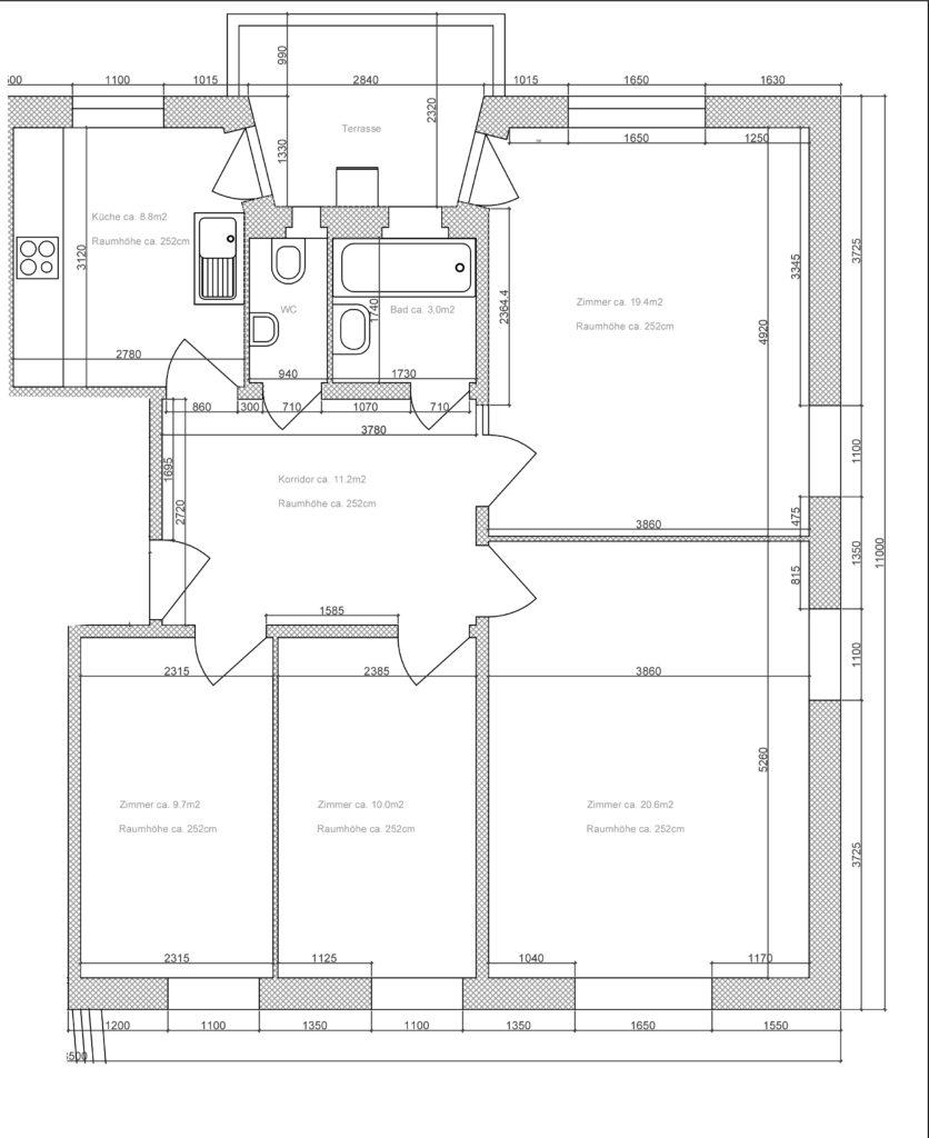 Beispiel Grundriss 4-Zimmer Wohnung EG